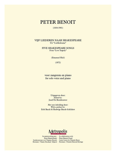 Benoit - 5 Shakespeare Songs for Solo Voice and Piano - V6143EM