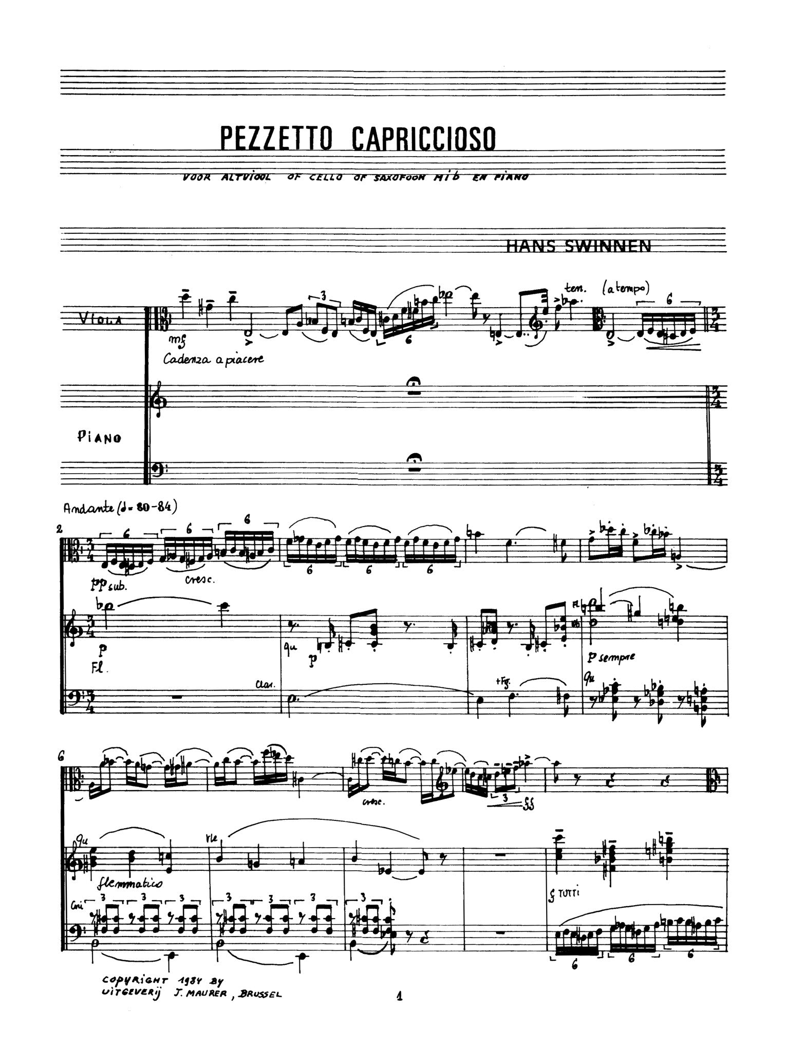 Swinnen Pezzetto Capriccioso For Viola And Piano Vap1250ejm United Music And Media Publishers Vocalise, and bach's air on the g string. alry publications