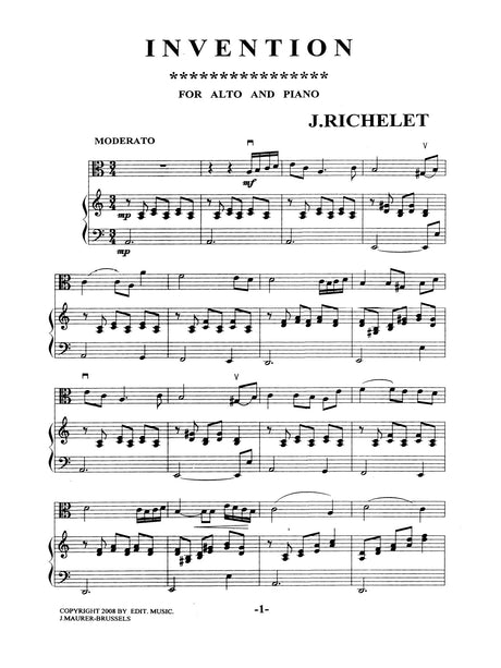 Richelet - Invention for Viola and Piano - VAP1624EJM