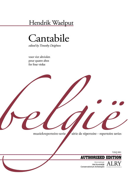 Waelput (ed. Deighton) - Cantabile for Four Violas - VAQ01