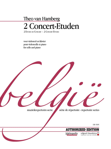 Theo van Hamberg - 2 Concert-Etuden for Cello and Piano - VCP4595EM