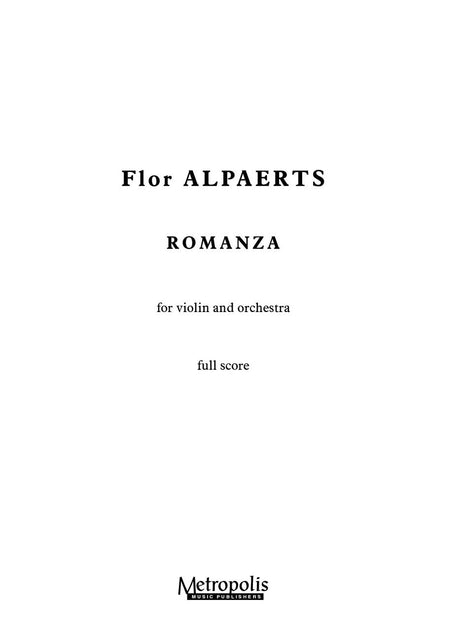 Alpaerts - Romanza for Violin and Orchestra (Full Score) - VLOR6167EM
