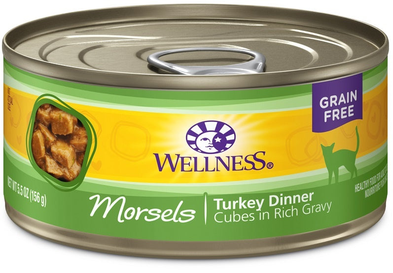 Wellness Grain Free Natural Turkey Morsels Dinner Canned Cat Food