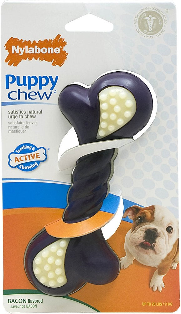 Nylabone Puppy Chew Double Action Bacon Flavor Dog Toy
