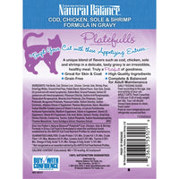 Natural Balance Platefulls Regular Grain Free Cod Chicken Sole and Shrimp in Gravy Pouch Wet Cat Food