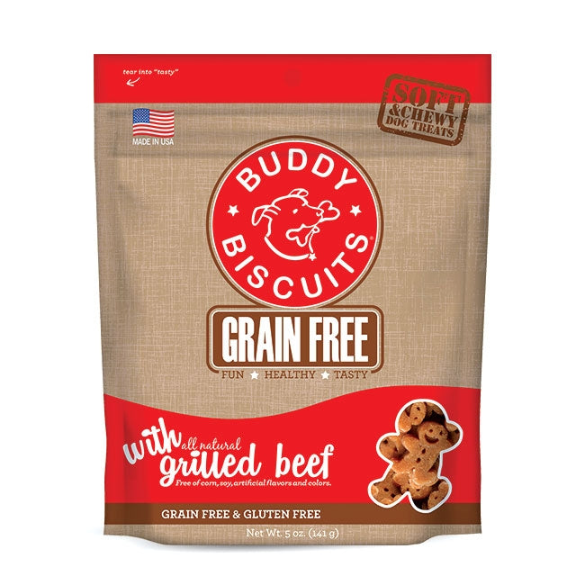 Cloud Star Buddy Biscuits Grain Free Soft and Chewy Grilled Beef Dog Treats