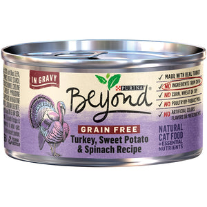 Purina Beyond Grain-Free Turkey, Sweet Potato & Spinach Recipe in Gravy Canned Cat Food,