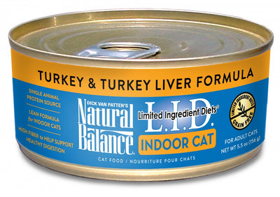Natural Balance L.I.D. Limited Ingredient Diets Turkey and Turkey Liver Indoor Canned Cat Food