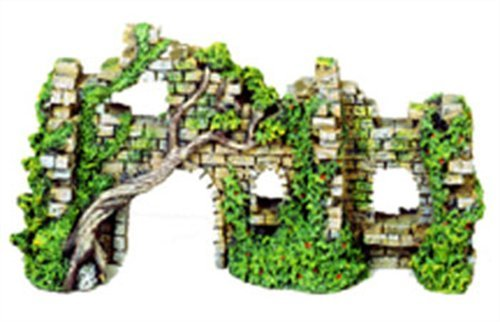 Exotic Environments Cobblestone Castle Walls Aquarium Ornament, 10-Inch by 3-1/2-Inch by 5-1/2-Inch