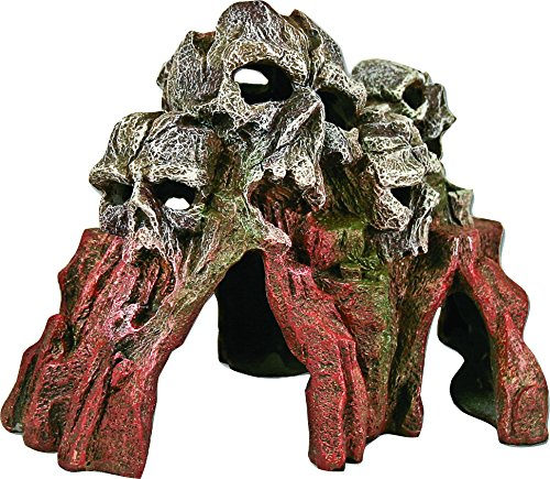 Exotic Environments Skull Mountain Aquarium Ornament Medium, 9-Inch by 6-Inch by 6-Inch