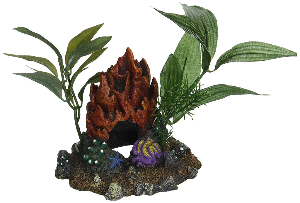 Blue Ribbon Pet Products ABLEE1050 Fire Coral Cave with Plants for Aquarium