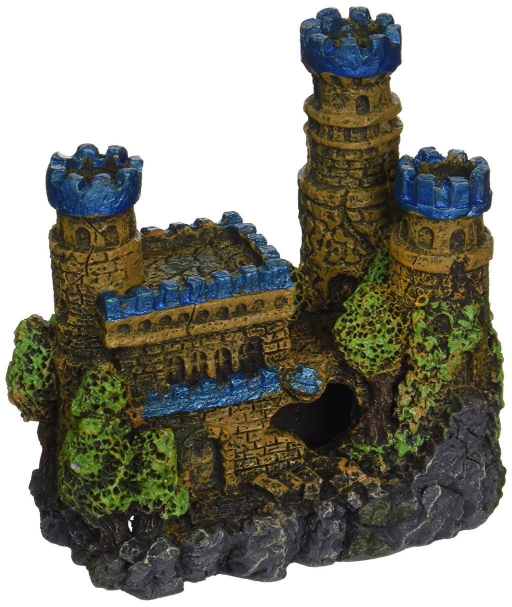 "Blue Ribbon Pet Products Resin Ornament - Medieval Castle Mini Blue 4""es x 2.25""es x 4""es"