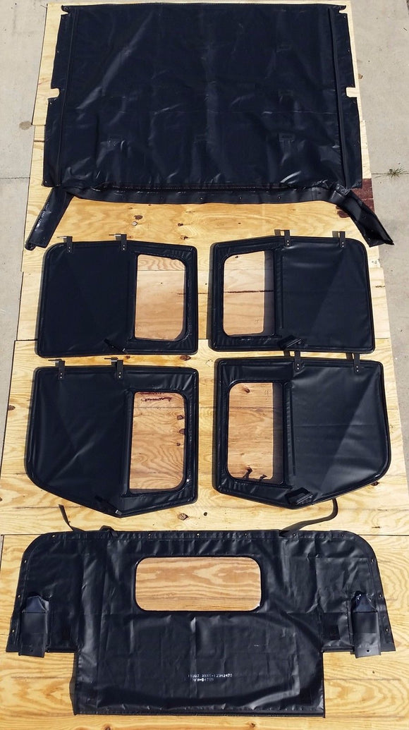 NEW HMMWV 4Man Soft Top KIT BLACK M998 4 Doors, C-Pillar, Bows, Rails,& HARDWARE