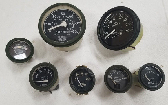M35A2 2.5 Ton GAUGE KIT TEMPERATURE VOLTMETER FUEL LEVEL  OIL SPEEDOMETER, RPM