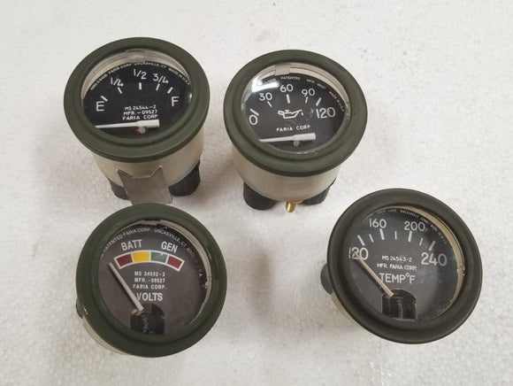 M998 HUMVEE HMMWV GAUGE KIT TEMPERATURE VOLTMETER FUEL LEVEL  OIL PRESSURE