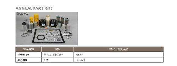 OSHKOSH PLS Palatalized Loading System A1 ANNUAL PMCS Kit 4910-01-621-1667 4095864