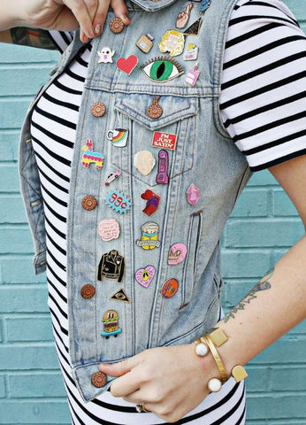 denim jacket pin collection