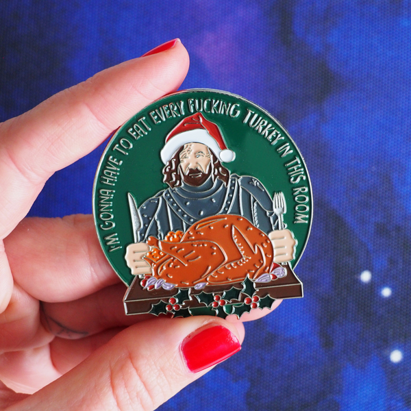 Santa Clegane Christmas enamel pin - Bookish and Bakewell