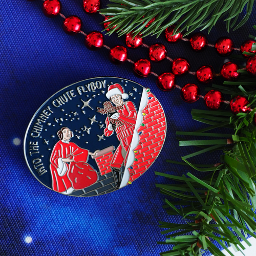 Into the Chute Flyboy Christmas enamel pin - Bookish and Bakewell