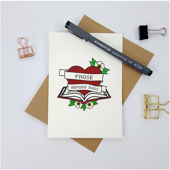 Prose Before Bros greetings card - Bookish and Bakewell