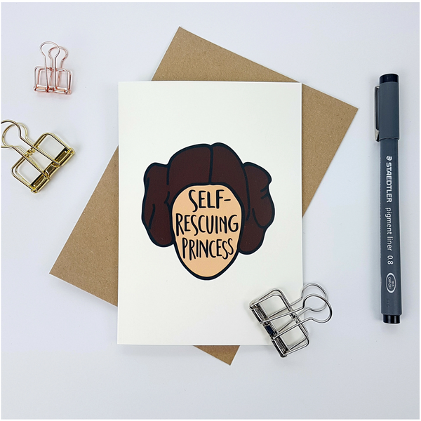Self Rescuing Princess greetings card - Bookish and Bakewell