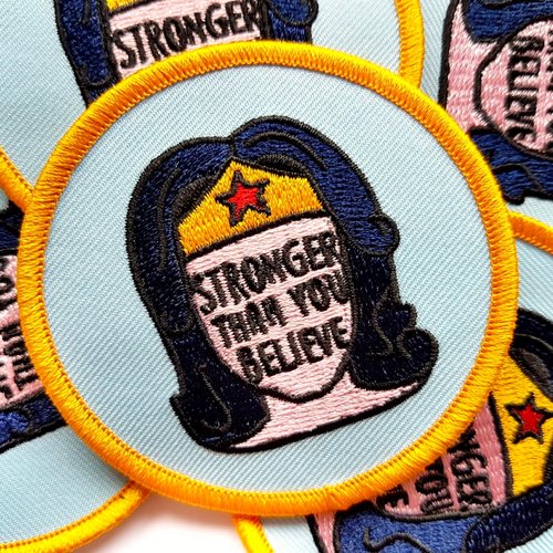 wonder woman iron on patch - stronger than you believe - bookish and bakewell
