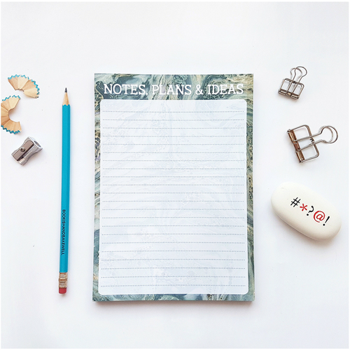 notes, plans and ideas notepad - to do list - bookish and bakewell - stationery