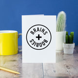 Brains + Boobies card - Bookish and Bakewell