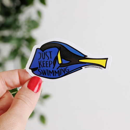 Just Keep Swimming vinyl sticker - Bookish and Bakewell