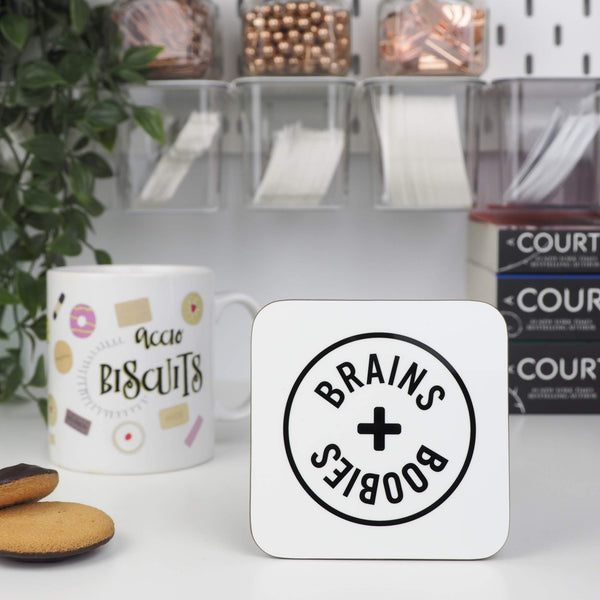 White Brains and Boobies coaster - Bookish and Bakewell