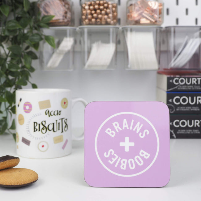 Pink Brains and Boobies coaster - Bookish and Bakewell