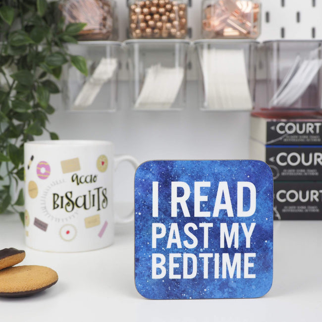I Read Past My Bedtime coaster - Bookish and Bakewell