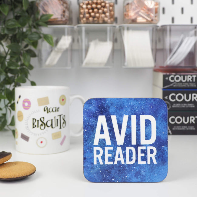 Blue Avid Reader coaster - Bookish and Bakewell