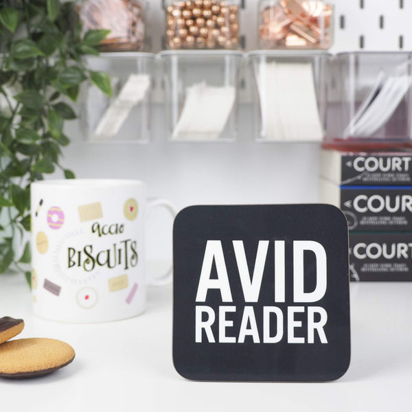 Avid Reader coaster - Bookish and Bakewell