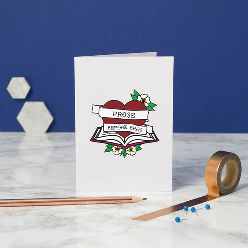 Prose Before Bros greetings card - bookish and bakewell - anti love card - friendship card