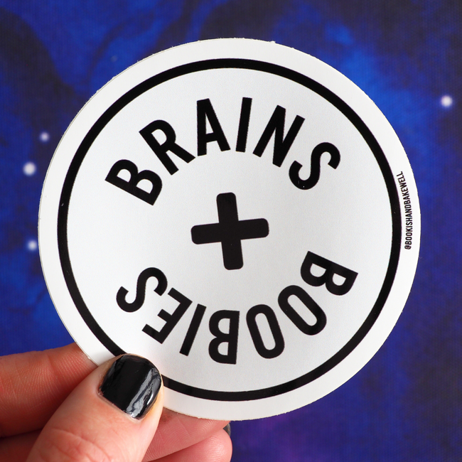 Brains and Boobies sticker - Bookish and Bakewell