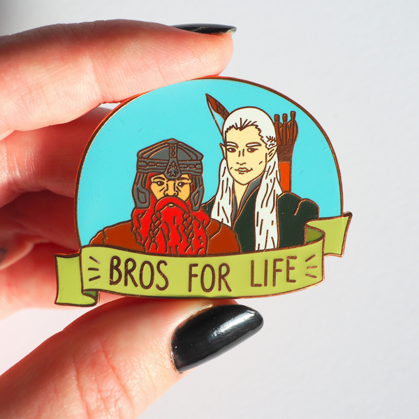 Bros For Life hard enamel pin - Bookish and Bakewell