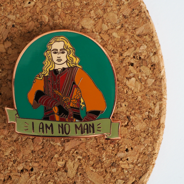 I Am No Man enamel pin - Bookish and Bakewell