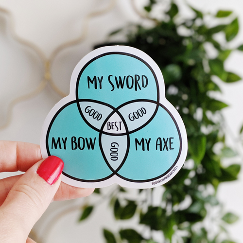 My Sword, My Bow, My Axe venn diagram sticker - Bookish and Bakewell