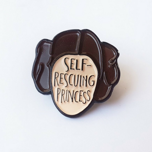 self-rescuing princess enamel pin princess leia bookish and bakewell