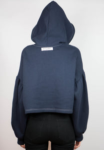 Navy Cropped Hoodie- W/ White Stitching