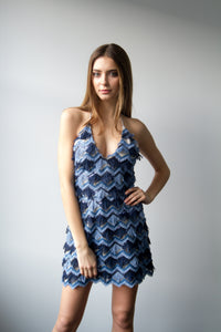 Blue Sequence V-Dress