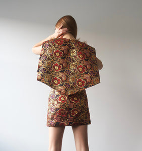 Red Floral Metallic Cape