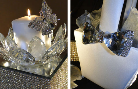 Candle centerpiece and flower girl basket decorated with a butterfly and bow tie rhinestone brooches.