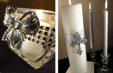 Tabletop candle and unity candle decorated with rhinestone brooches.
