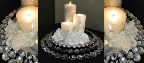 After the wedding this cake stand can be used as a candle centerpiece.