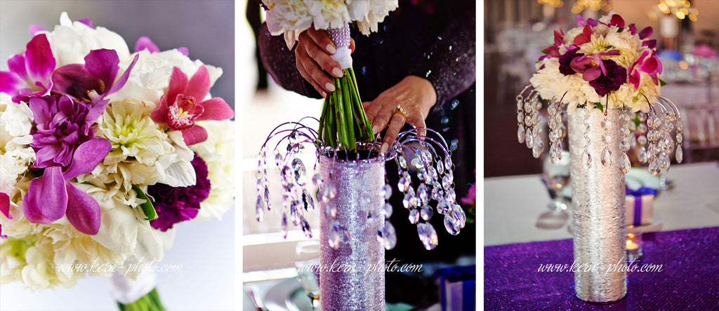 Transform your wedding bouquets into sensational decorations for your wedding head table.