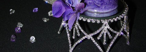 Add interest to your crown candle holder by adding floral accents and scatter crystals.