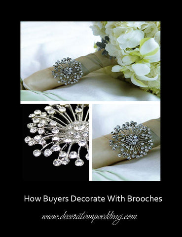 A clear rhinestone brooch is used to decorate the handle of a bridal bouquet.