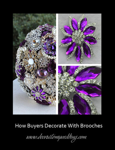 A bridal bouquet is created using rhinestone brooches of many shapes and styles.